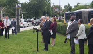 Metro General Manager Paul Wiedefeld and regional transportation officials talked about plans for the subway system Wednesday at the Braddock Road Metro Station, one of six stations that will close this summer for platform construction. (Orrin Konheim/Special to The Washington Times)