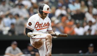 Baltimore Orioles' Chris Davis reacts after he struck out swinging during the eighth inning of a baseball game against the New York Yankees, Thursday, May 23, 2019, in Baltimore. The Yankees won 6-5. (AP Photo/Nick Wass)