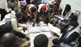 In this Tuesday, May 21, 2019, photo, vote counting gets underway in Blantyre, Malawi. The country went to the polls to elect a new president in which 78-year-old President Peter Mutharika is seeking re-election to a second term. (AP Photo/Thoko Chikondi)