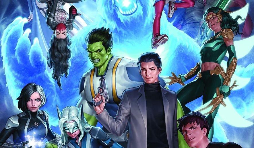 """This image provided by Marvel shows the cover of the first issue in """"Agents of Atlas,"""" Marvel Comics' five-part standalone comic book series set to roll out in August 2019. Marvel Comics is giving ink to an unprecedented team-up of nearly a dozen of its mightiest Asian and Asian American heroes. (Jung-Geun Yoon/Marvel via AP)"""