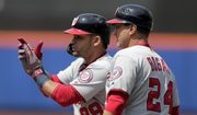 Washington Nationals' Gerardo Parra (88) reacts after hitting a two-run single off New York Mets relief pitcher Robert Gsellmann during the eighth inning of a baseball game, Thursday, May 23, 2019, in New York. (AP Photo/Julio Cortez)