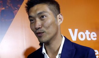 FILE - In this March 25, 2019, file photo, Future Forward Party leader Thanathorn Juangroongruangkit attends a press conference at the party's headquarters in Bangkok. The Constitutional Court has accepted a case against Future Forward Party leader Thanathorn Juangroongruangkit, who is accused of breaking electoral law by holding shares in a media company. Thanathorn has denied the accusations. Thursday's ruling is likely to increase political tensions. (AP Photo/Sakchai Lalit, File)