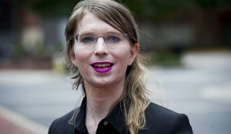 In this May 16, 2019, file photo. former Army intelligence analyst Chelsea Manning speaks with reporters, outside federal court in Alexandria, Va. (AP Photo/Cliff Owen, File)