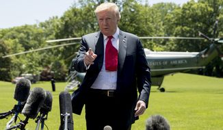 President Donald Trump speaks to members of the media on the South Lawn of the White House in Washington, Friday, May 24, 2019, before boarding Marine One for a short trip to Andrews Air Force Base, Md., and then on to Tokyo.  (AP Photo/Andrew Harnik)