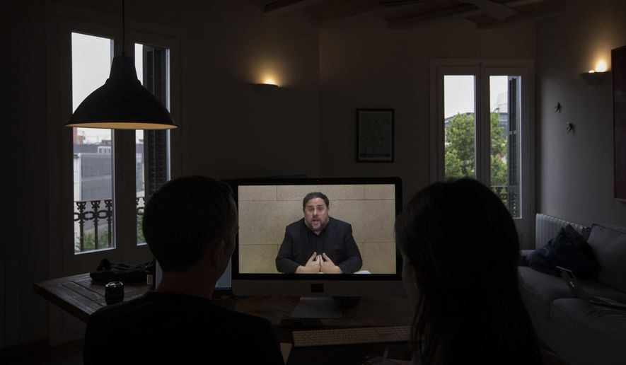 The leader of the Catalan ERC party and European Parliament candidate Oriol Junqueras speaks from Soto del Real prison in Madrid, Friday, May 24, 2019, during an interview via video conference with The Associated Press in Barcelona, Spain. (AP Photo/Emilio Morenatti)