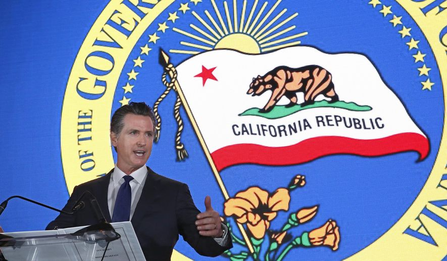 Gov. Gavin Newsom speaks at the California Chamber of Commerce's 94th Annual Sacramento Host Breakfast, Thursday, May 23, 2019, in Sacramento, Calif. (AP Photo/Rich Pedroncelli) ** FILE **