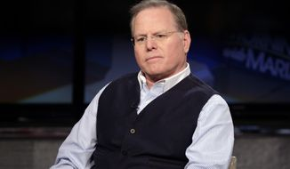 "FILE - In this March 13, 2018, file photo Discovery Communications CEO David Zaslav is interviewed by host Maria Bartiromo on the ""Mornings with Maria"" program on the Fox Business Network, in New York. Zaslav was the highest paid CEO at big U.S. companies for 2018, as calculated by The Associated Press and Equilar, an executive data firm. He made $129.5 million. (AP Photo/Richard Drew, File)"