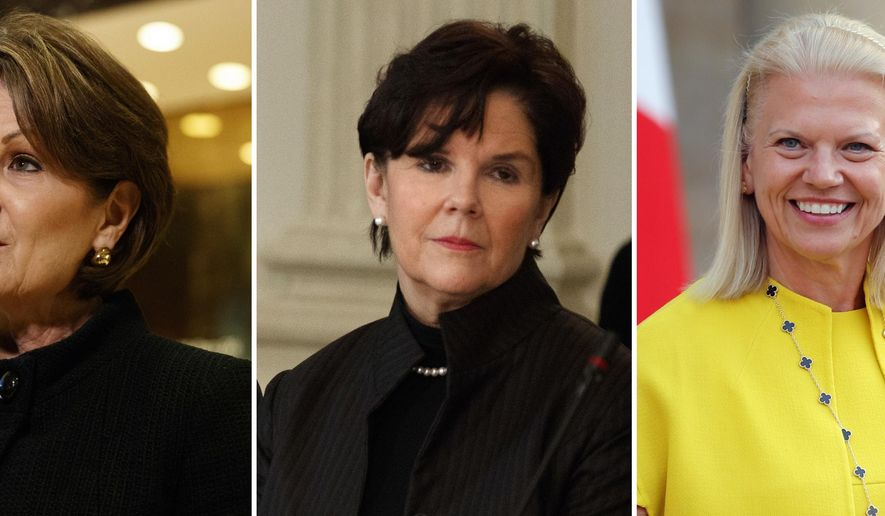 This photo combination show five of the highest-paid female CEOs for 2018, as calculated by The Associated Press and Equilar, an executive data firm. From left: Mary Barra, General Motors, $21.9 million; Marillyn Hewson, Lockheed Martin, $21.5 million; Phebe Novakovic, General Dynamics, $20.7 million; Virginia Rometty, IBM, $17.6 million; and Adena Friedman, Nasdaq, $14.4 million. (AP Photo)