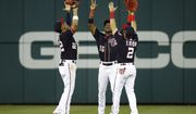 From left to right, Washington Nationals outfielders Juan Soto, Victor Robles and Adam Eaton celebrate after a baseball game against the Miami Marlins, Friday, May 24, 2019, in Washington. (AP Photo/Patrick Semansky) ** FILE **