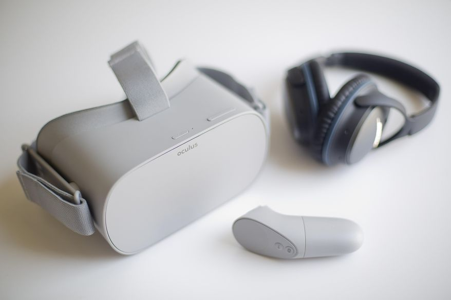 Axon Immersion Training Virtual Reality (VR) headset, used in training police officers to learn the best way to interact with people who suffer with autism, Thursday, May 23, 2019 in Washington. Police officers are now using virtual reality to learn the best ways to interact with people who suffer from autism and de-escalate situations that could quickly turn awry. A new training simulation using virtual reality headsets is being rolled out by Aon, the company best known for developing the Taser. (AP Photo/Pablo Martinez Monsivais)