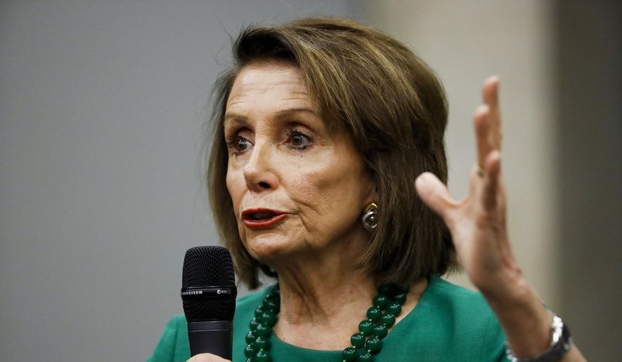 Speaker of the House Nancy Pelosi, D-Calif., speaks during a panel discussion at Delaware County Community College, Friday, May 24, 2019, in Media, Pa. (AP Photo/Matt Slocum) ** FILE **