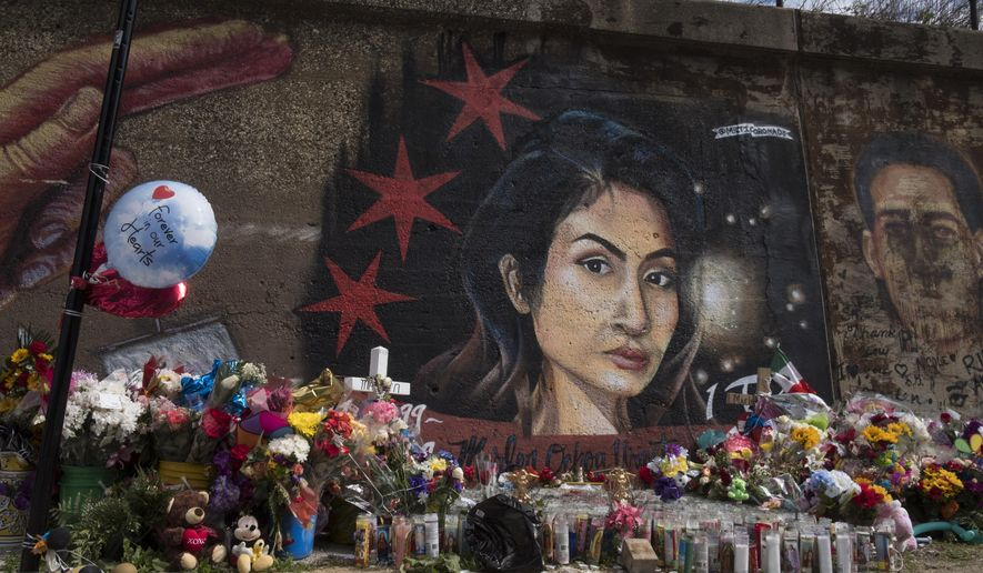 A mural for Marlen Ochoa-Lopez at 16th and South Newberry Ave in the Pilsen neighborhood of Chicago. (Rick Majewski/Chicago Sun-Times via AP)