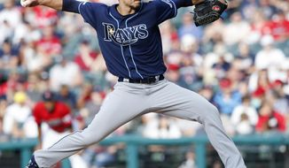 Tampa Bay Rays starting pitcher Charlie Morton delivers against the Cleveland Indians during the first inning of a baseball game, Saturday, May 25, 2019, in Cleveland. (AP Photo/Ron Schwane)