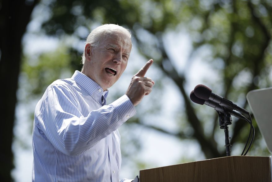 In this May 18, 2019, file photo, Democratic presidential candidate, former Vice President Joe Biden speaks during a campaign rally at Eakins Oval in Philadelphia. (AP Photo/Matt Rourke, File)