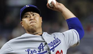 Los Angeles Dodgers starting pitcher Hyun-Jin Ryu delivers in the fifth inning of the team's baseball game against the Pittsburgh Pirates in Pittsburgh, Saturday, May 25, 2019. (AP Photo/Gene J. Puskar)