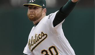 Oakland Athletics pitcher Brett Anderson works against the Seattle Mariners in the first inning of a baseball game Sunday, May 26, 2019, in Oakland, Calif. (AP Photo/Ben Margot)