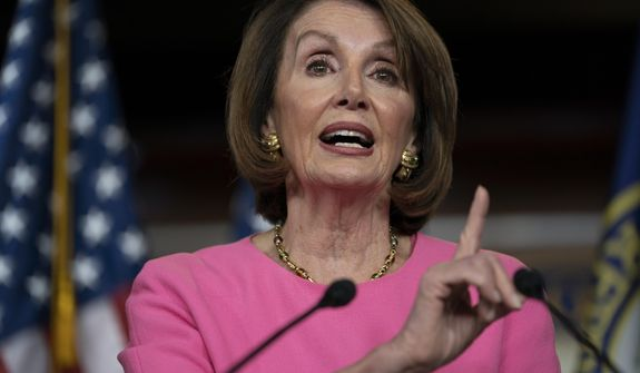 In this May 23, 2019, file photo, Speaker of the House Nancy Pelosi, D-Calif., meets with reporters at the Capitol in Washington. (AP Photo/J. Scott Applewhite)