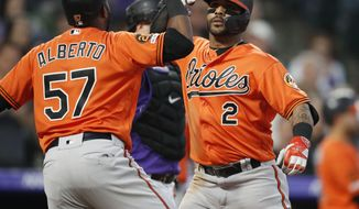 Baltimore Orioles' Jonathan Villar, right, celebrates with with Hanser Alberto after hitting a three-run home run off Colorado Rockies starting pitcher Kyle Freeland in the fourth inning of a baseball game Saturday, May 25, 2019, in Denver. (AP Photo/David Zalubowski)