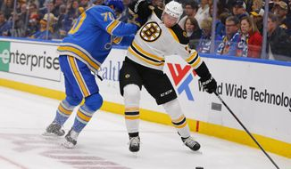 FILE - In this Feb. 23, 2019, file photo, Boston Bruins' Charlie Coyle (13) tries to avoid a check from St. Louis Blues' Oskar Sundqvist (70), of Sweden, during the first period of an NHL hockey game in St. Louis. Game 1 of the Stanley Cup finals between the Bruins and Blues is Monday, May 27.  (AP Photo/Dilip Vishwanat, File)