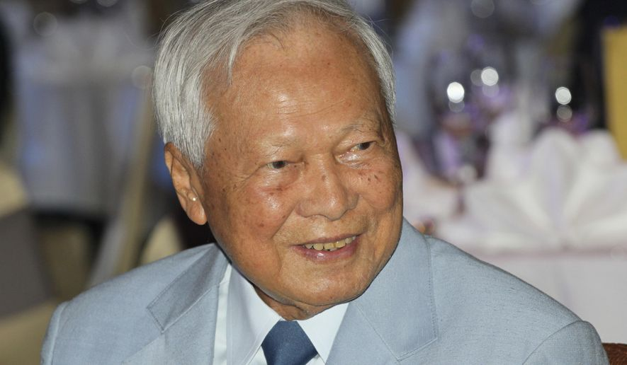 FILE - In this Nov. 11, 2014 file photo, former Prime Minister Prem Tinsulanonda attends a charity function in Bangkok, Thailand. Prem Tinsulanonda, one of Thailand's most influential political figures over four decades who served as army commander, prime minister and adviser to the royal palace, has died at age 98. Thai media reported he died Sunday morning, May 26, 2019, in a Bangkok hospital, and an official announcement is expected.(AP Photo/Sakchai Lalit, File)
