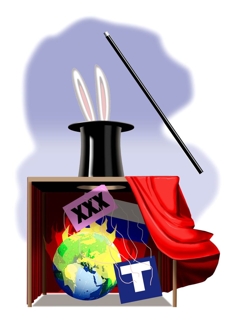 Illustration on dispelled hoaxes by Alexander Hunter/The Washington Times
