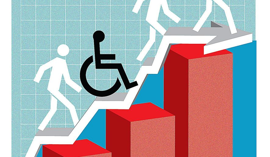 Illustration on work opportunities for the disabled by Linas Garsys/The Washington Times