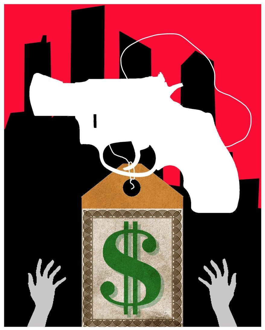 Illustration on gun ownership licencing's expense and effects on the poor by Alexander Hunter/The Washington Times