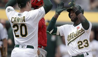 Oakland Athletics' Jurickson Profar, right, celebrates with Mark Canha (20) after hitting a two-run home run off Los Angeles Angels' Trevor Cahill in the fourth inning of a baseball game Monday, May 27, 2019, in Oakland, Calif. (AP Photo/Ben Margot)