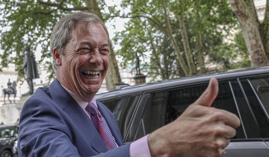 Brexit Party leader Nigel Farage arrives at the party's HQ, prior to an event to mark the gains his party made in the European Elections, in London, Monday, May 27, 2019. In results announced Monday for all regions of the U.K. except Northern Ireland, the Brexit Party had won 29 of the 73 British EU seats up for grabs and almost a third of the votes. (AP Photo/Vudi Xhymshiti)