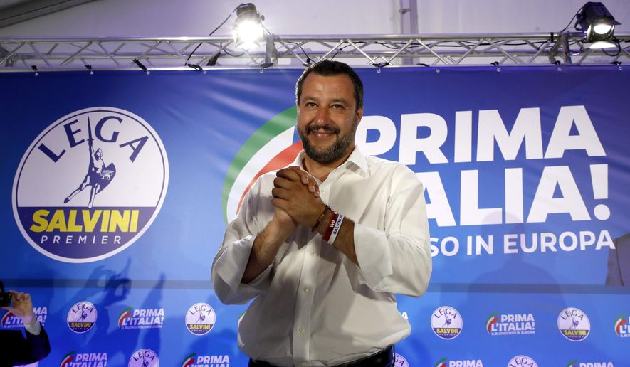 Interior Minister and Deputy Premier Matteo Salvini arrives for a press conference at the League's headquarters, in Milan, Italy, Monday, May 27, 2019. The League party of Italy's hard-line interior minister was one of the biggest winners in the European elections, with sky-rocketing support that bolsters his role as the flagbearer of the nationalist and far-right forces in Europe and could also shake up politics at home.(AP Photo/Antonio Calanni)
