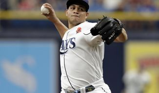 Tampa Bay Rays pitcher Yonny Chirinos delivers to the Toronto Blue Jays during the first inning of a baseball game Monday, May 27, 2019, in St. Petersburg, Fla. (AP Photo/Chris O'Meara)