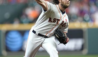 Houston Astros starting pitcher Gerrit Cole throws against the Chicago Cubs during the first inning of a baseball game Monday, May 27, 2019, in Houston. (AP Photo/David J. Phillip)
