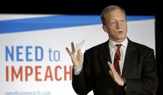 """In this March 13, 2019, file photo, billionaire investor and Democratic activist Tom Steyer speaks during a """"Need to Impeach"""" town hall in Agawam, Mass. (AP Photo/Steven Senne, File)"""