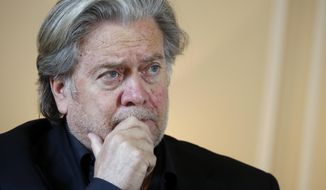 """Former White House strategist Steve Bannon poses prior to an interview with The Associated Press, in Paris, Monday, May 27, 2019. Steve Bannon says European integration is """"dead in its tracks"""" after European election wins by nationalist and populist parties in Italy, France and Britain. (AP Photo/Thibault Camus)"""