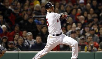 """In this April 11, 2019, file photo, Boston Red Sox's Dustin Pedroia follows through on an RBI-single against the Toronto Blue Jays during the third inning of a baseball game at Fenway Park in Boston. Pedroia will take an """"indefinite leave"""" in his long struggle to recover from knee trouble, putting in doubt whether he will ever play again in the majors. Boston put the longtime star on the 60-day injured list Monday, May 27, 2019. (AP Photo/Winslow Townson, File) **FILE**"""