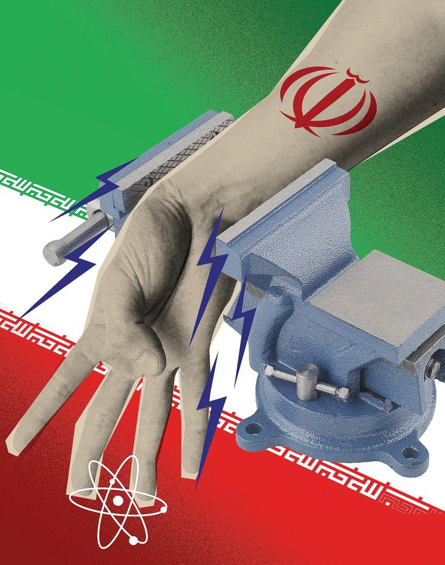 Illustration on pressuring Iran by Linas Garsys/The Washington Times