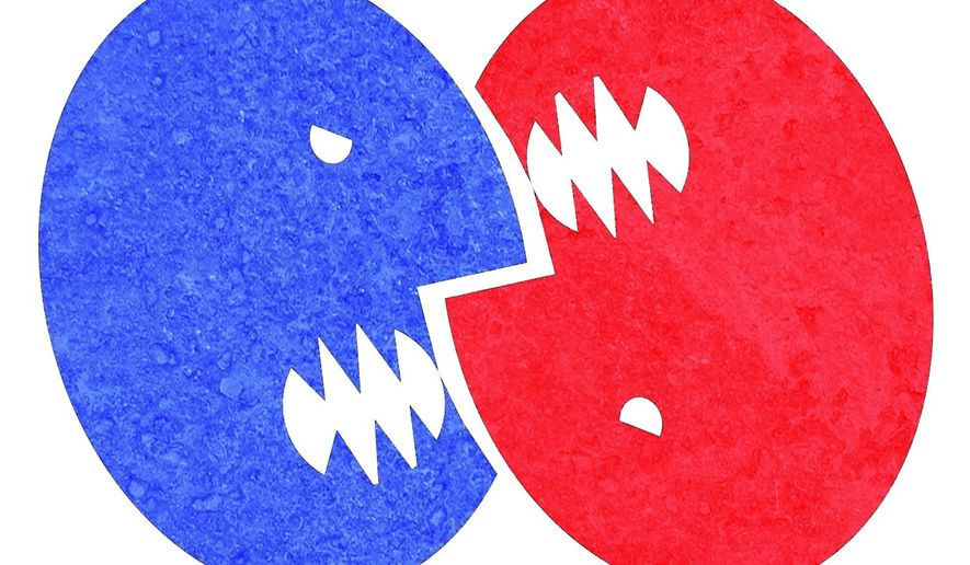 Illustration on conflict in America by Alexander Hunter/The Washington Times