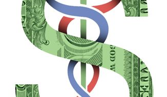 Illustration on health Care and the economy by Alexander Hunter/The Washington Times