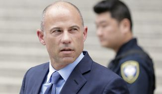 Attorney Michael Avenatti leaves a courthouse in New York, Tuesday, May 28, 2019, after pleading not guilty to charges that he defrauded his most famous client, porn star Stormy Daniels. (AP Photo/Seth Wenig)