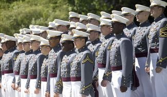 Army cadets participate in Parade Day at the U.S. Military Academy at West Point, N.Y., May 22, 2019. (AP Photo/Mark Lennihan) ** FILE **