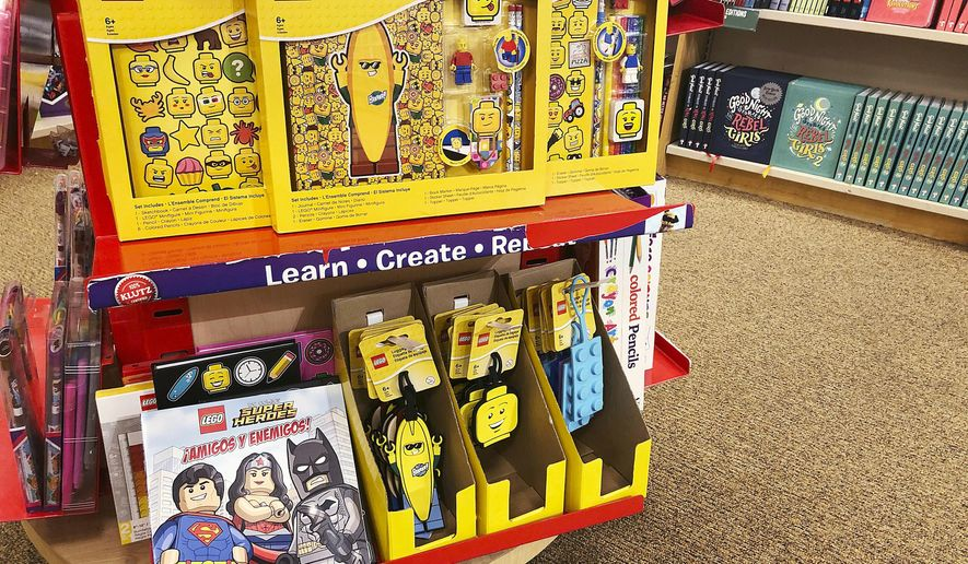 LEGO merchandise is displayed at Barnes and Noble bookstore on Tuesday, May 28, 2019, in Pembroke Pines, Fla. At this year's national publishing convention, BookExpo, non-book items will be a main attraction. Non-book products can account for 20 percent or more of overall sales at bookstores. BookExpo runs Wednesday to Friday in New York. (AP Photo/Brynn Anderson)