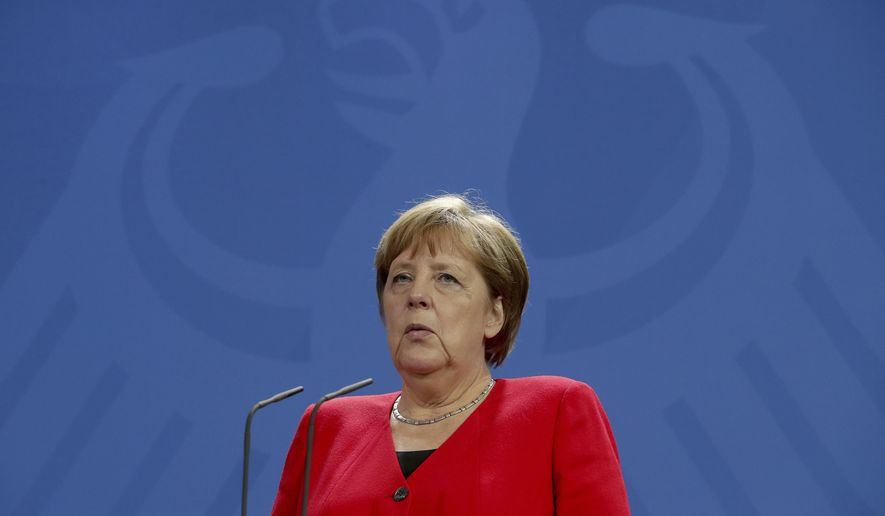 German Chancellor Angela Merkel speaks during a joint statement prior to a meeting with the president of Costa Rica, Carlos Alvarado Quesada, at the Chancellery in Berlin, Germany, Monday, May 27, 2019. (AP Photo/Michael Sohn)