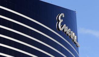 Encore Boston Harbor is seen in Everett, Mass., Wednesday, May 22, 2019. MGM Resorts International says it will no longer pursue buying Encore Boston Harbor from Wynn Resorts. (AP Photo/Michael Dwyer)