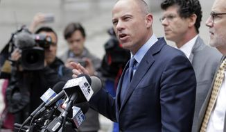 Michael Avenatti speaks to reporters after leaving a courthouse in New York, Tuesday, May 28, 2019, following a hearing where he pleaded not guilty to charges that he defrauded his most famous client, porn star Stormy Daniels. (AP Photo/Seth Wenig)