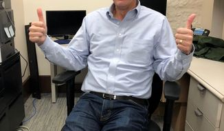 Republican Minnesota Senate Majority Leader Paul Gazelka poses Tuesday, May 28, 2019, in St. Paul, Minn., after switching his attire from suits to jeans now that that the Minnesota Legislature's 2019 regular and special sessions are over. Gazelka said in an interview at the state Capitol that he expects legislation to help make emergency insulin supplies more affordable for diabetics who lack adequate insurance, which failed to make it across this finish line in last week's special session, will return next year. (AP Photo/Steve Karnowski)