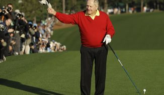 FILE - In this April 5, 2018, file photo, Jack Nicklaus is introduced before hitting an honorary first tee shot before the first round at the Masters golf tournament in Augusta, Ga. With Woods winning the Masters, Nicklaus again is being asked whether Woods can break his record in the majors. (AP Photo/Matt Slocum, File)
