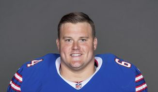 FILE - This is a 2017 file photo showing Richie Incognito of the Buffalo Bills NFL football team. The Oakland Raiders have agreed to a one-year deal with troubled guard Richie Incognito. A person familiar with the deal said Tuesday, May 28, 2019, the two sides came to agreement after a few weeks of discussion. The person spoke on condition of anonymity because the signing has not been announced. (AP Photo/File)