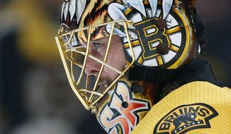 Boston Bruins goaltender Tuukka Rask, of Finland, stands in net during the third period in Game 1 of the NHL hockey Stanley Cup Final against the St. Louis Blues, Monday, May 27, 2019, in Boston. (AP Photo/Michael Dwyer)