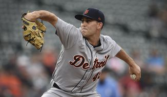 Detroit Tigers pitcher Matthew Boyd throws against the Baltimore Orioles in the first inning of a baseball game, Tuesday, May 28, 2019, in Baltimore. (AP Photo/Gail Burton)