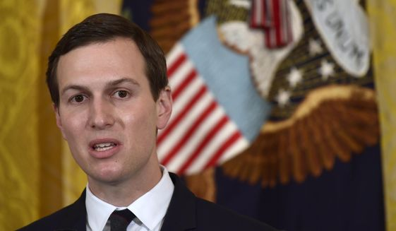 In this May 18, 2018, file photo, White House adviser Jared Kushner speaks in the East Room of the White House in Washington. (AP Photo/Susan Walsh, File)